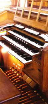 Organ console in St James and St Basil, Fenham, to be restored by Wood Pipe Organ Builders