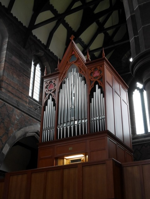The pipe organ in the church of St Cross, Clayton, Manchester.