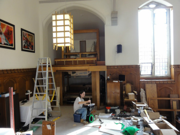 Working on the installation of the organ from Jesus College, Cambridge, into Truro School Chapel