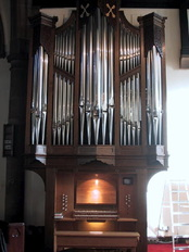 The pipe organ in St Peter's, Chorley, built and maintained by Wood Organ Builders,