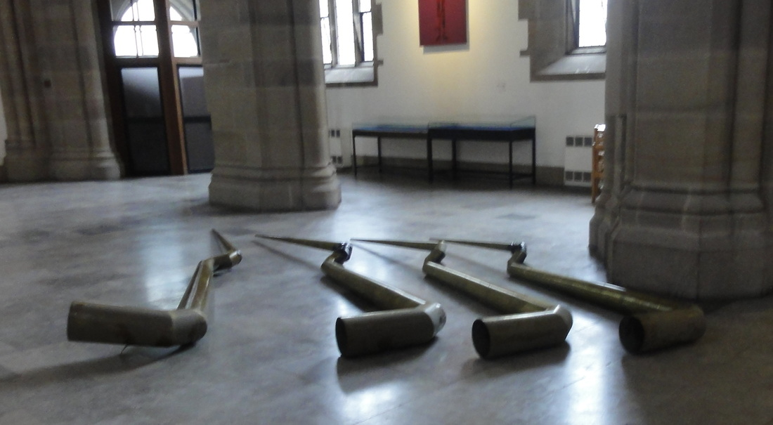 The damaged serpent organ pipes from Blackburn cathedral