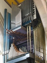 The organ in Blackburn Cathedral which was rebuilt and is maintained by Wood Pipe Organ Builders, Huddersfield