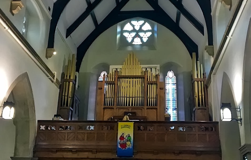 The pipe organ in the church of St Charles Borromeo, Hadfield, Derbyshire which is to be restored by Wood Pipe Organ Builders.