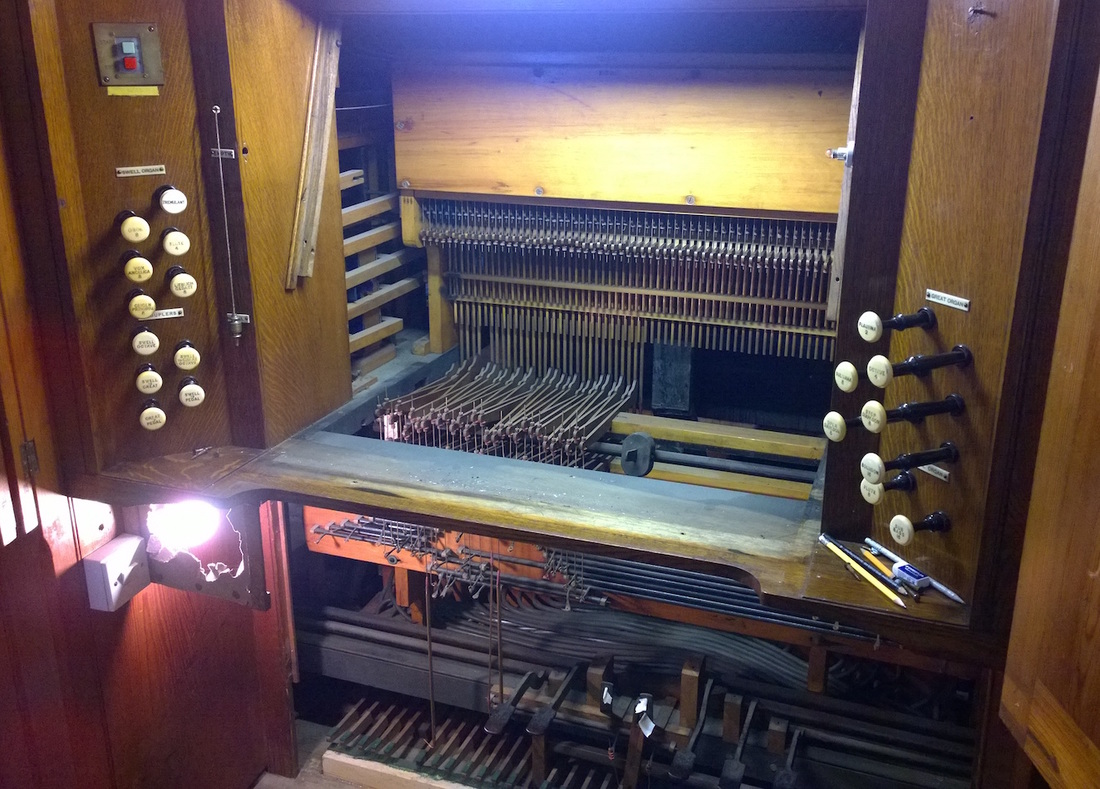 The console of the organ in Christ Church, Great Ayton, which is being restored
