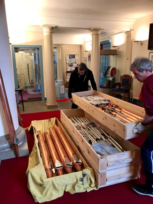 David Wood and Eddie Hynes moving pipes during restoration of the organ in Canongate Kirk, Edinburgh