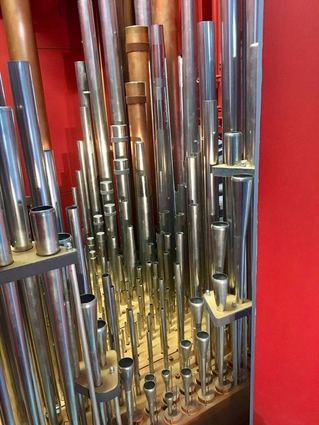 Pipes in the restored Frobenius organ in Canongate Kirk.